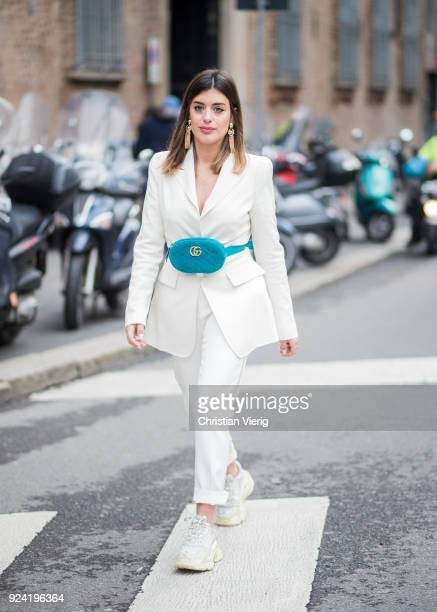 Aida Domenech wearing fanny bag Gucci seen outside Ermanno Scervino during Milan Fashion Week Fall/Winter 2018/19 on February 24 2018 in Milan Italy