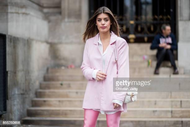 Aida Domenech wearing pink overknee boots is seen outside Balmain during Paris Fashion Week Spring/Summer 2018 on September 28 2017 in Paris France