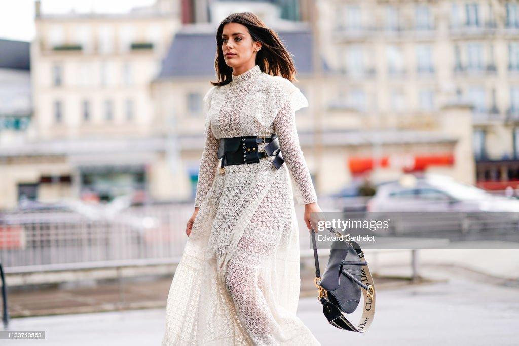 Aida Domenech Wears A See Through White Lace Dress A Black