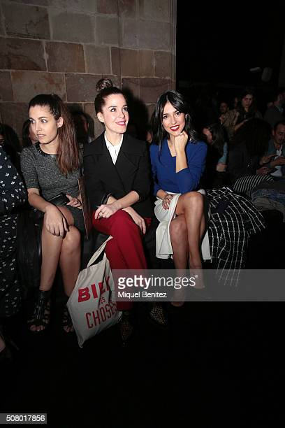 Aida Flix Nuria Gago and Cristina Brondo attend the front row of Sita Murt show during the Barcelona 080 Fashion Week Autumn/Winter 2016/2017 at Casa...