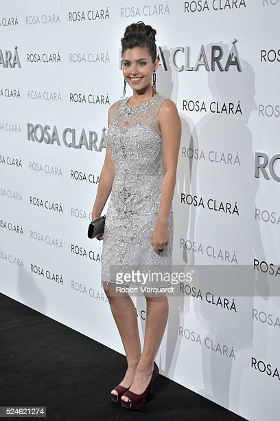 Aida Flix poses during a photocall for 'Rosa Clara' bridal collection on April 26 2016 in Barcelona Spain