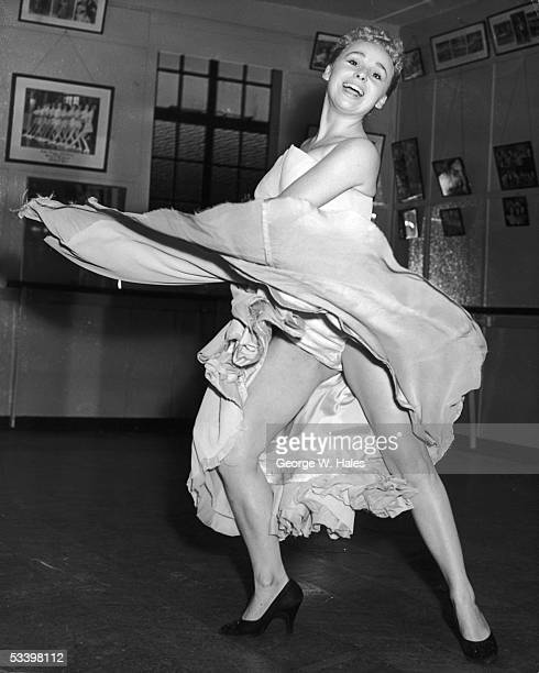 Aida Foster Stage School student Barbara Windsor rehearsing for the role of principal girl in a production of the pantomime Red Riding Hood at...