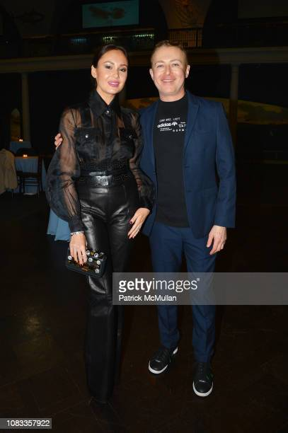 Aida Garifullina and Marc Johnston attend Publication Party For Karen LeFrak's New Book Sleepover At The Museum at Milstein Hall of Ocean Life at the...