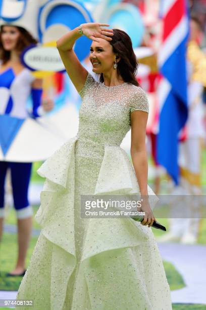 Aida Garifullina entertains the crowd at the opening ceremony before the 2018 FIFA World Cup Russia group A match between Russia and Saudi Arabia at...