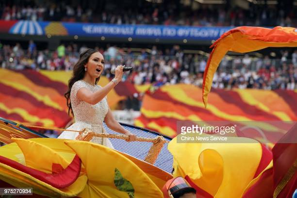Aida Garifullina performs during the Opening Ceremony during the 2018 FIFA World Cup Russia group A match between Russia and Saudi Arabia at Luzhniki...