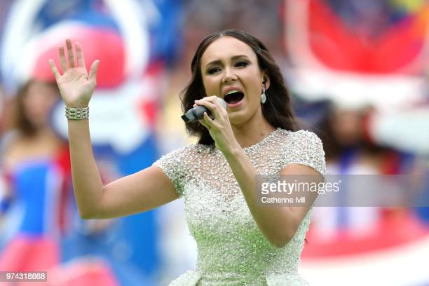 Aida Garifullina performs during the opening ceremony prior to the 2018 FIFA World Cup Russia Group A match between Russia and Saudi Arabia at...