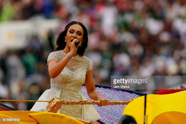 Aida Garifullina sings during the opening ceremony before the 2018 FIFA World Cup Russia group A match between Russia and Saudi Arabia at Luzhniki...