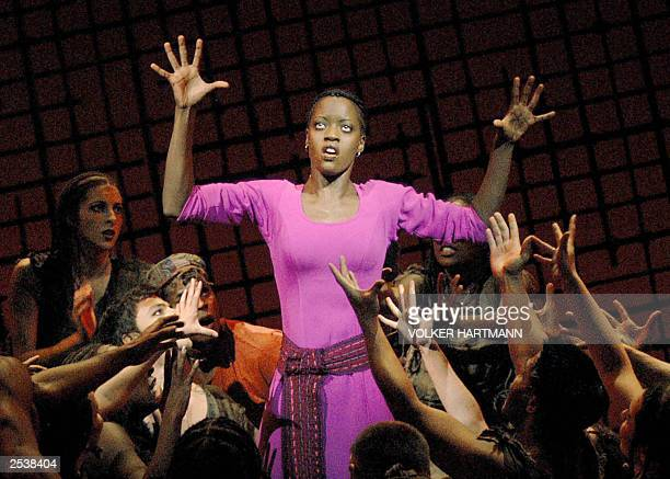 Aida played by Florence Kasumba is pictured during dress rehearsal of the musical AIDA in Essen 26 September 2003 The musical was created by British...