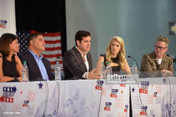Aida Rodriguez Cenk Uygur Ben Gleib Liz Wheeler and Michael Loftus speak during Politicon 2018 at Los Angeles Convention Center on October 21 2018 in...