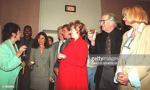 Aida Takla O'Reilly President of the Hollywood Foreign Press Association toasts the celebrities who helped announce the nominations for the 1995...