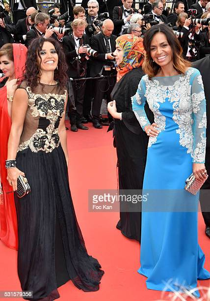 Aida Touihri and Laurence Roustandjee attend 'The BFG ' premiere during the 69th annual Cannes Film Festival at the Palais des Festivals on May 14...