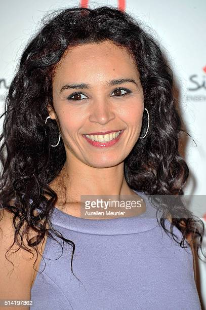 Aida Touihri attends the Sidaction 2016 Launch party photocall at Musee du Quai Branly on March 7 2016 in Paris France