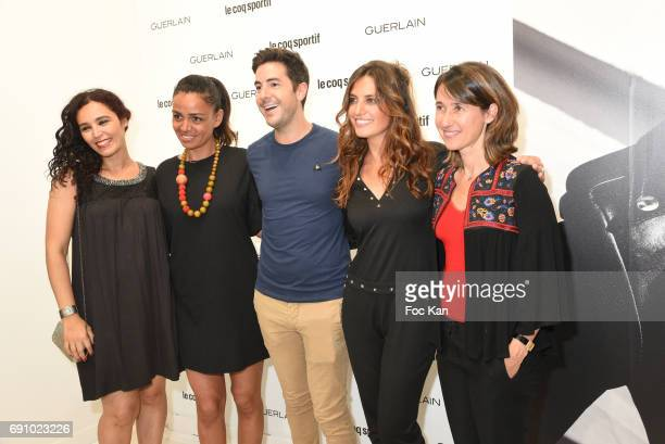 Aida Touihri Laurence Roustandjee Jean Philippe Sionneau Laetitia Millot and Alexia Laroche Joubert attend Le Coq Sportif x Guerlain photocall at the...