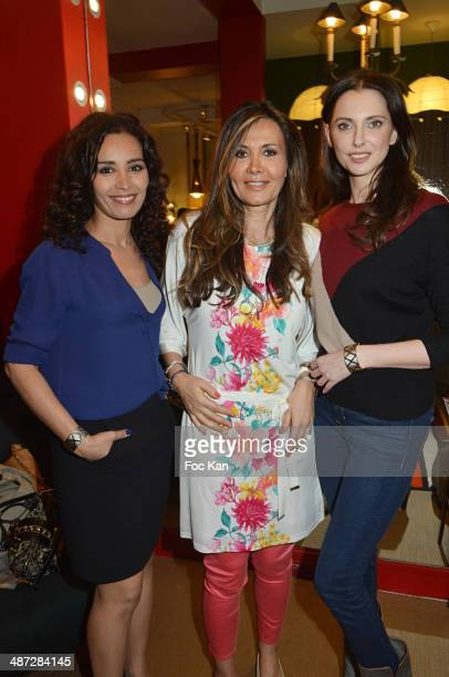 Aida Touihri Marie Olga Charriol and Frederique Bel attend 'Charriol' Ephemeral Boutique opening hosted by Nathalie Garcon at Galerie Vivienne on...