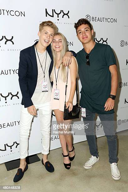 Aidan Alexander Griffin Arnlund and Gabriel Conte attend the NYX Cosmetics VIP lounge during BeautyCon LA at The Reef on July 11 2015 in Los Angeles...
