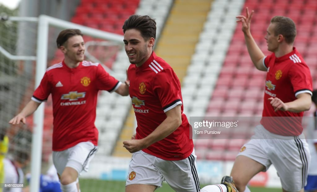 Aidan Barlow of Manchester United U19s celebrates scoring their first goal during the UEFA Youth League match between Manchester United U19s and FC Basel U19s at Leigh Sports Village on September 12, 2017 in Leigh, Greater Manchester.