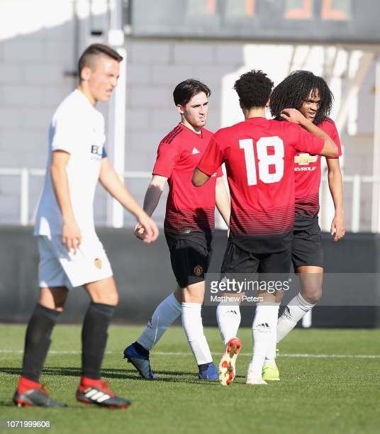 Aidan Barlow of Manchester United U19s celebrates scoring their second goal during the UEFA Youth League match between Valencia U19s and Manchester...
