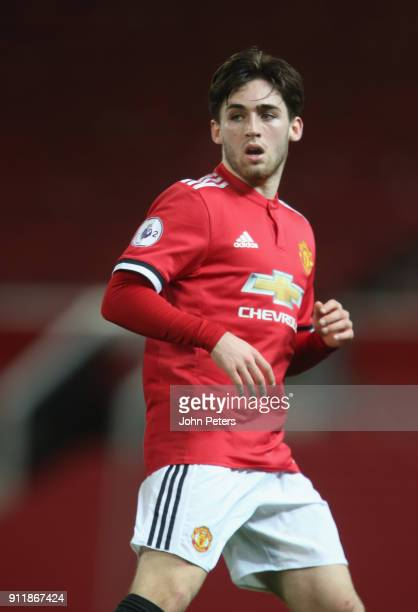 Aidan Barlow of Manchester United U23s in action during the Premier League 2 match between Manchester United U23s and Tottenham Hotspur U23s at Old...