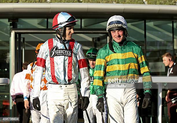 Aidan Coleman and Richie McLernon before riding The William Handicap Hurdle at Ascot Racecourse on November 1 2014 in Ascot England