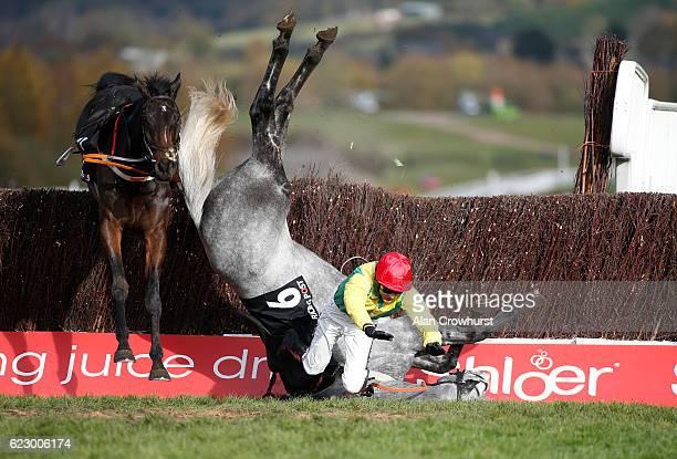 Aidan Coleman falls from Mick Thonic at Cheltenham Racecourse on November 13 2016 in Cheltenham England