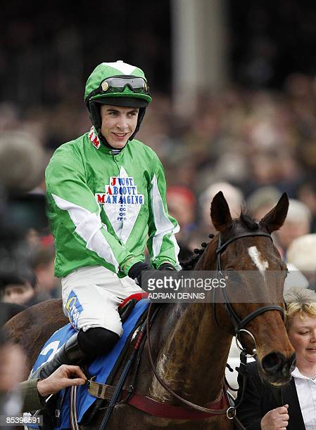 Aidan Coleman rides Kayf Aramis down the chute after winning the Pertemps Final Handicap Hurdle race during the third day of the Cheltenham festival...