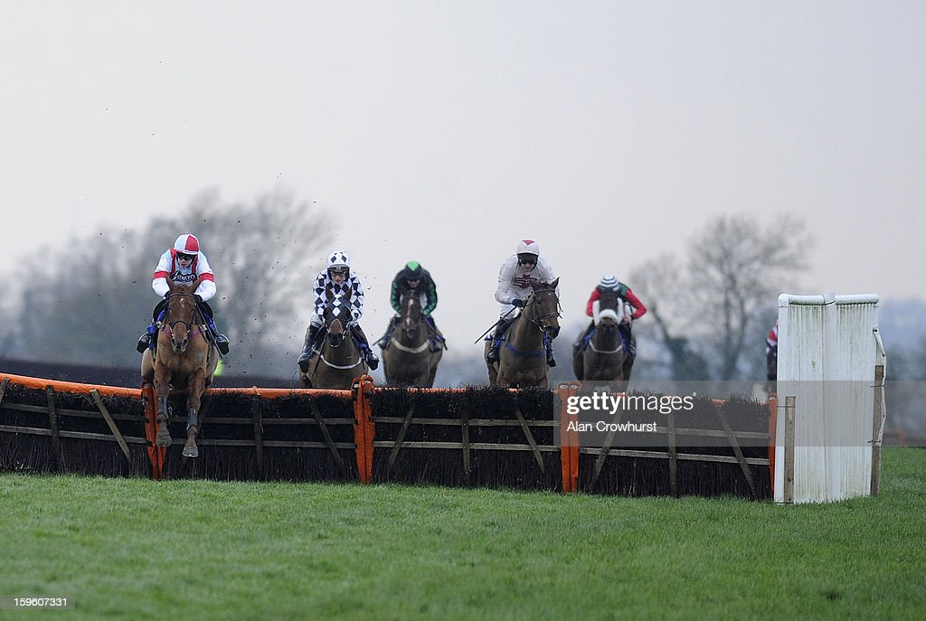 Aidan Coleman riding Brick Red (L) clear the last to win The Higos Insurance Dervices Langport Handicap Hurdle Race at Wincanton racecourse on January 17, 2013 in Wincanton, England.