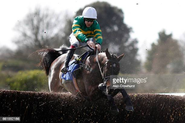 Aidan Coleman riding Easy Street on their way to winning The bet365 Handicap Steeple Chase at Fontwell Park on March 31 2017 in Fontwell England