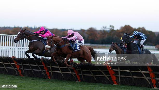 Aidan Coleman riding Eddiemaurice clear the last to win The Canaccord Genuity Handicap Hurdle Race at Ascot Racecourse on November 18 2016 in Ascot...