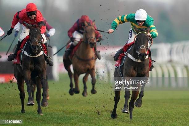 Aidan Coleman riding Epatante clear the last to win The Ladbrokes 'Where The Nation Plays' Intermediate Hurdle at Newbury Racecourse on November 30...