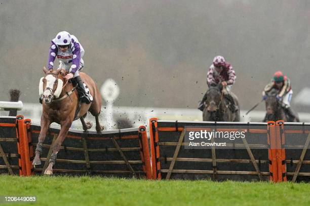 Aidan Coleman riding Nordano clear the last to win The Give The Gift Of Ascot Annual Membership Handicap Hurdle at Ascot Racecourse on February 15...