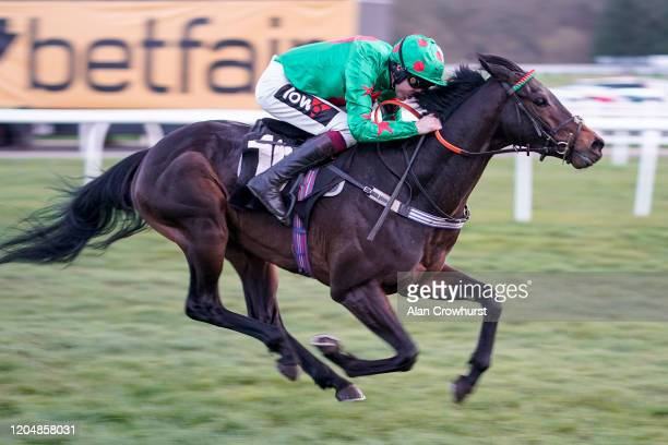 Aidan Coleman riding Ocean Wind win The Racing Only Bettor Podcast Bumper at Newbury Racecourse on February 08 2020 in Newbury England