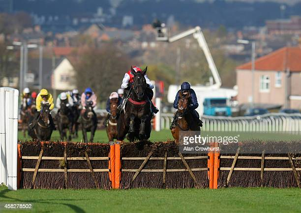 Aidan Coleman riding Otago Trail clear the last to win The Celebration Of Paul Crozier's Life Novices' Hurdle Race at Carlisle racecourse on November...