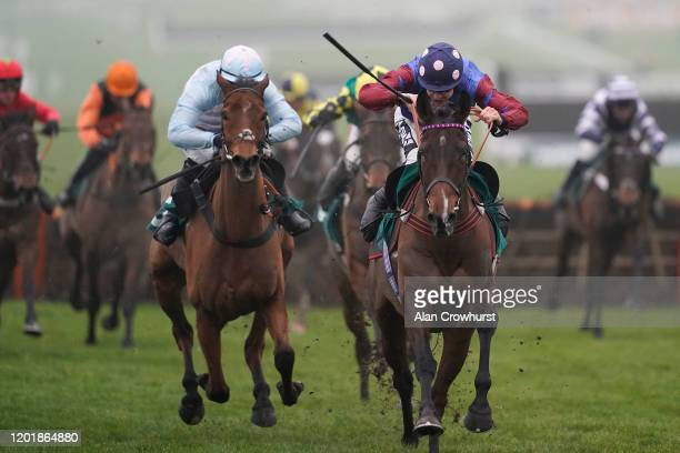 Aidan Coleman riding Pailsley Park clear the last to win The galliardhomes.com Cleeve Hurdle at Cheltenham Racecourse on January 25, 2020 in...