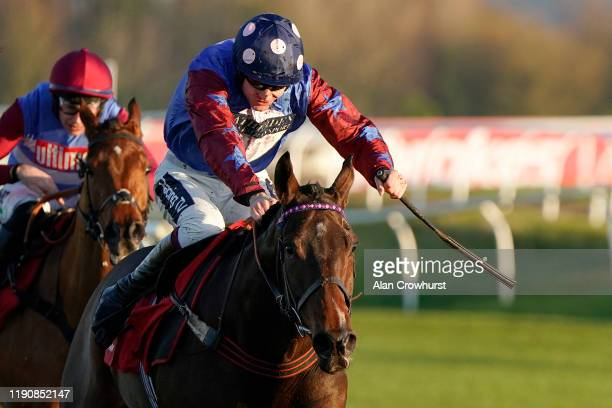 Aidan Coleman riding Paisley Park clear the last to win The Ladbrokes Long Distance Hurdle at Newbury Racecourse on November 29 2019 in Newbury...