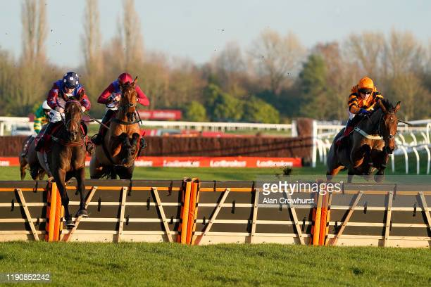 Aidan Coleman riding Paisley Park clear the last to win The Ladbrokes Long Distance Hurdle from Thistlecrack and Tom Scudamore at Newbury Racecourse...