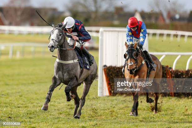 Aidan Coleman riding Royale Zanzibar clear the last to win The myracingcom For Free Hereford Tips Juvenile Maiden Hurdle at Hereford racecourse on...