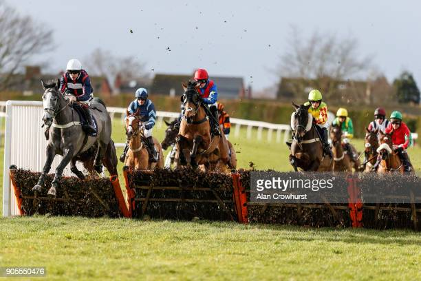Aidan Coleman riding Royale Zanzibar on their way to winning The myracingcom For Free Hereford Tips Juvenile Maiden Hurdle at Hereford racecourse on...