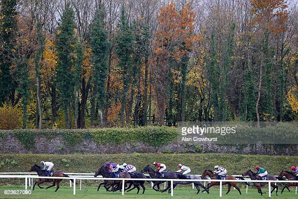 Aidan Coleman riding Utility on their way to winning The Grand Slam Of Darts At 188Bet Novices' Hurdle Race at Chepstow Racecourse on November 16...