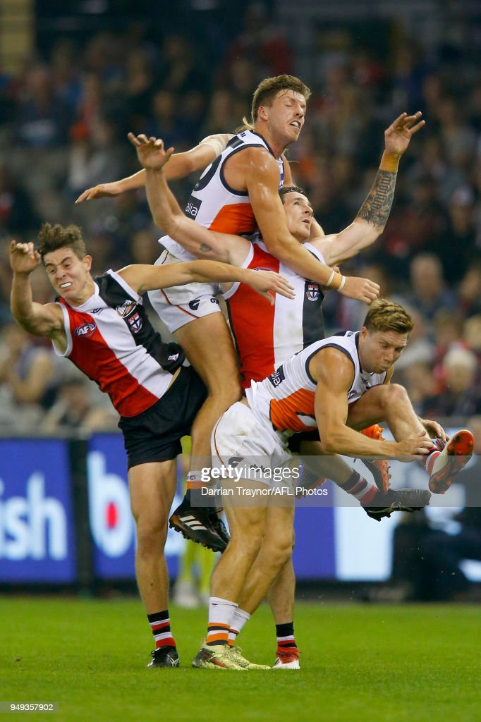 Aidan Corr of the Giants spolis Jake Carlisle of the Saints during the round five AFL match between the St Kilda Saints and the Greater Western Sydney Giants at Etihad Stadium on April 21, 2018 in Melbourne, Australia.