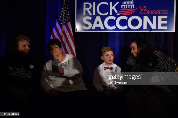 Aidan Davis waits with his aunt Becky Kohut for election results at an Election Night event for GOP PA Congressional Candidate Rick Saccone as the...