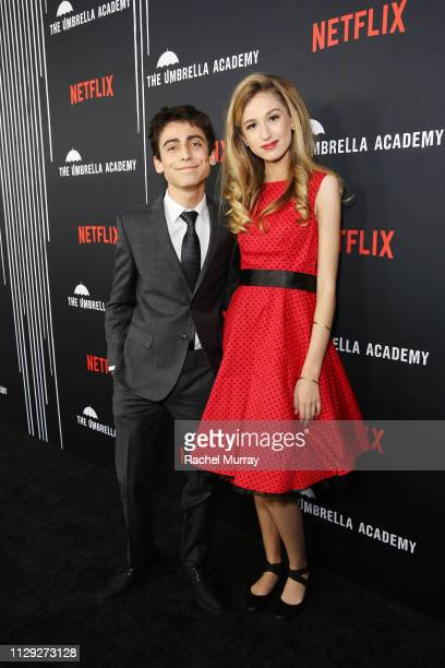 Aidan Gallagher and Trinity Rose attends 'The Umbrella Academy' Premiere at Cinerama Dome on February 12 2019 in Hollywood California