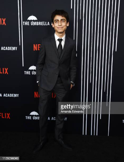 Aidan Gallagher arrives at the premiere of Netflix's 'The Umbrella Academy' at the ArcLight Hollywood on February 12 2019 in Hollywood California
