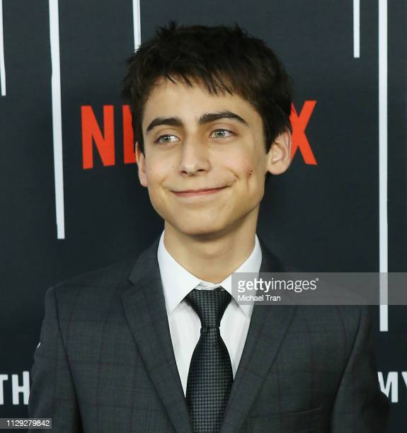 Aidan Gallagher attends the Los Angeles premiere of Netflix's 'The Umbrella Academy' held at ArcLight Hollywood on February 12 2019 in Hollywood...