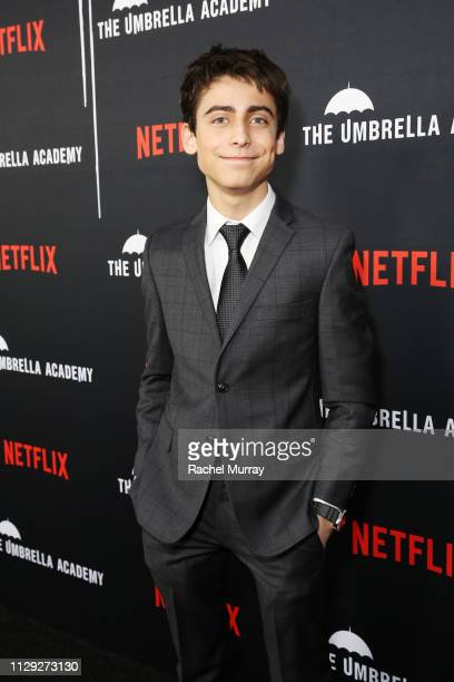 Aidan Gallagher attends The Umbrella Academy Premiere at Cinerama Dome on February 12 2019 in Hollywood California