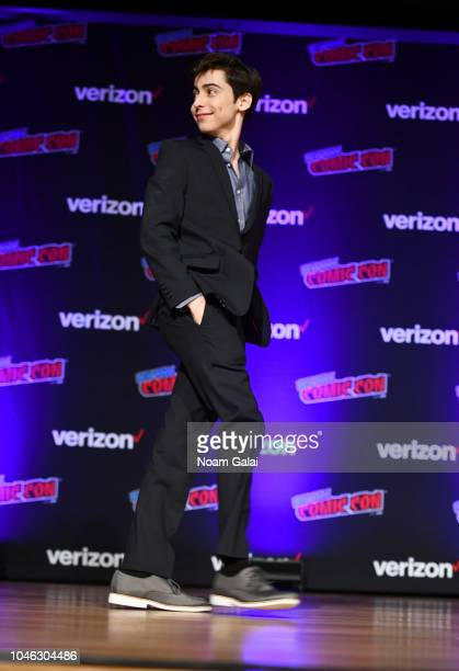 Aidan Gallagher speaks onstage at the Netflix Chills panel during New York Comic Con 2018 at Jacob K Javits Convention Center on October 5 2018 in...
