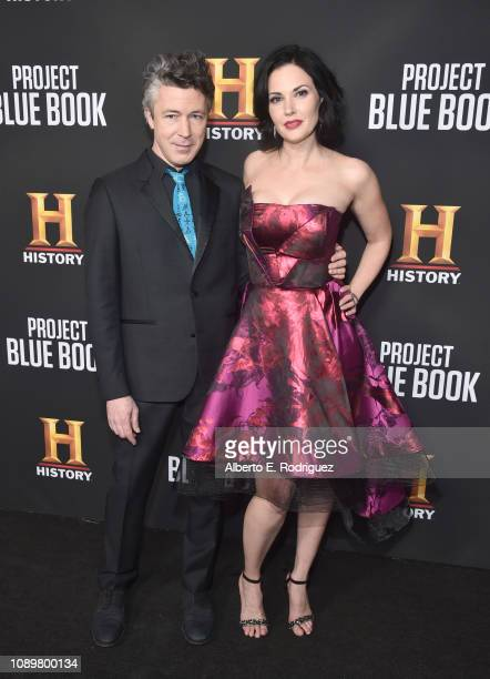 Aidan Gillen and Laura Mennell attend the premiere of History Channel's Project Blue Book at Simon House on January 03 2019 in Beverly Hills...
