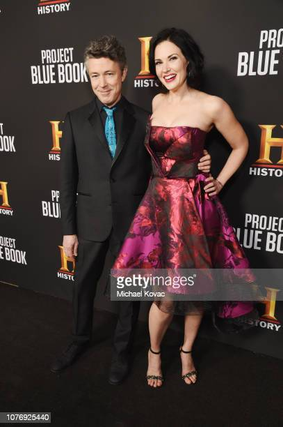 "Aidan Gillen and Laura Mennell attend the LA premiere party for HISTORY's new drama ""Project Blue Book"" on January 3, 2019 in Los Angeles, California."