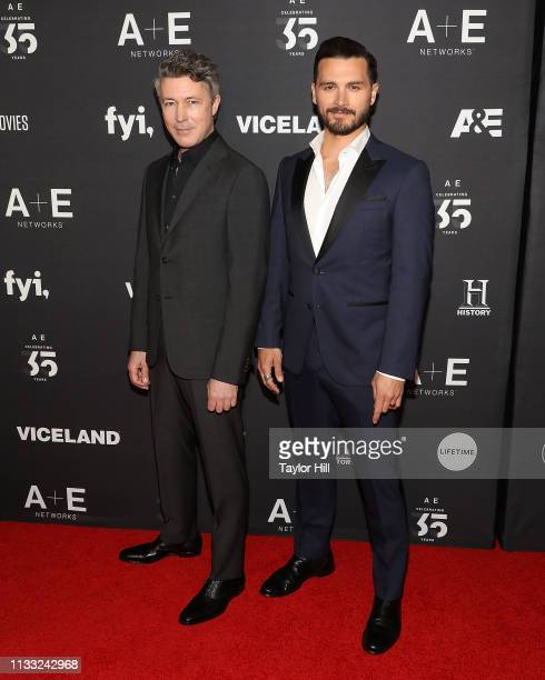 Aidan Gillen and Michael Malarkey attend the 2019 AE Networks Upfront at Jazz at Lincoln Center on March 27 2019 in New York City