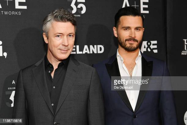 Aidan Gillen and Michael Malarkey of History's Project Blue Book attend the 2019 AE Networks Upfront at Jazz at Lincoln Center on March 27 2019 in...