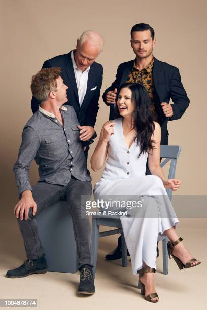 Aidan Gillen Neal McDonough Laura Mennell and Michael Malarkey from AE Studios and Compari Entertainment's 'Project Blue Book' pose for a portrait at...